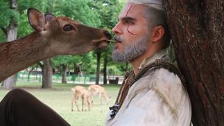 日本奈良公园的鹿目击到了猎魔人杰洛特