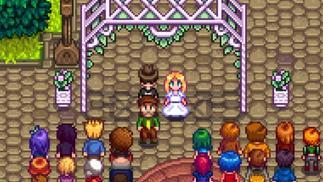 在《星露谷物语》里订婚的小夫妻