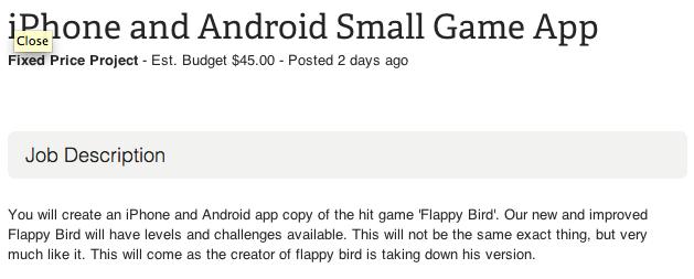 """应用开发外包招工启事:""""你要照着炸裂大作Flappy Bird做一个iPhone和Android应用,我们的全新改进版本要有可用的关卡和挑战,它和原版不一样,但是十分相似……"""""""