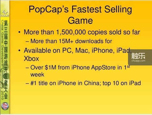 《植物大战僵尸》(英文版)登陆App Store首周创收100万美元,在中国区iPhone平台排名第一,iPad平台名列前十