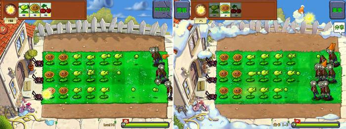 《植物大战僵尸》英文版(左)与中文版(右)同一关卡同一时间的僵尸数量对比