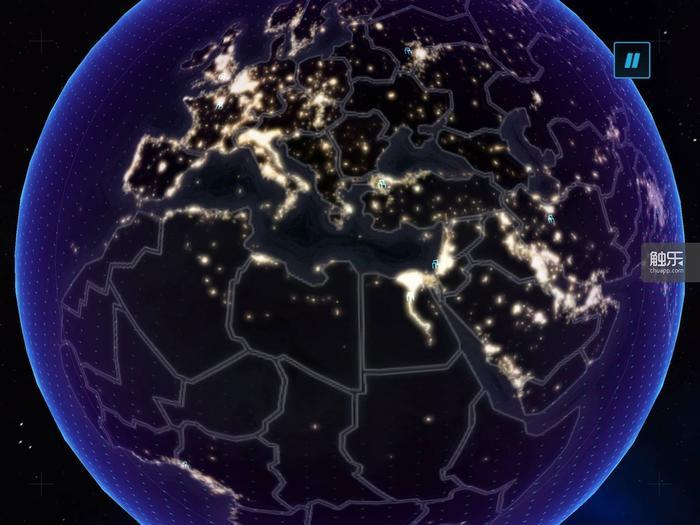 游戏在一定程度上还模拟除了全球的各国的发达程度,比如灯火通明的欧洲