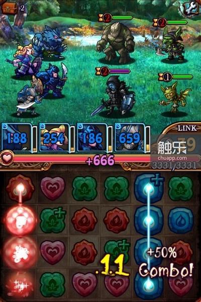 经典的消除玩法作为攻击手段,不同颜色的攻击方式会克制不同颜色的敌人