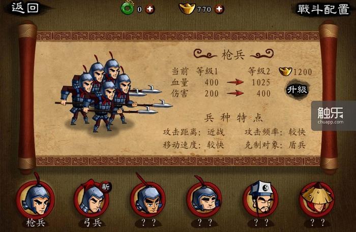小兵最初的几级可以用金币来完成升级,但很快就需要人民币来提升强度,否则玩家会发现自己的单位不堪一击