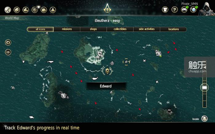 《刺客信条IV:黑旗》的辅助App像是移动版的游戏菜单,可以实时同步游戏数据