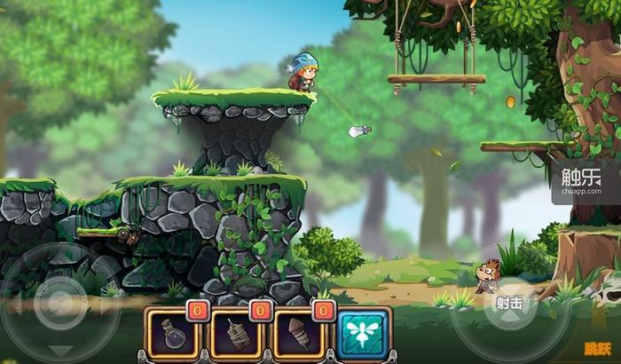 游戏融合了《马里奥》和《魂斗罗》元素,开启自动射击会让游戏变得简单一些,否则需要自己点击目标进行射击
