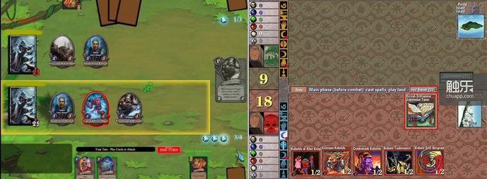 《炉石传说》原型阶段的游戏界面(上),布局效仿《万智牌》早期PC版本的痕迹还相当明显