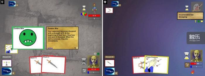 僵尸与食尸鬼对玩家的战术要求截然相反,一个需要在五回合内竭尽全力消灭敌人,一个需要在五回合内尽量龟缩,追求防御效果