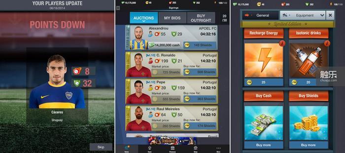 队员数值会根据现实中的表现增减;每天都会即时播报世界杯比分,然后玩家可以直接购买比赛双方的队员;商店中可以购买的几种商品,本作并不严重依赖内购