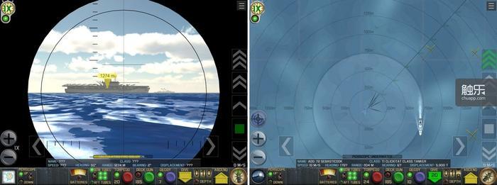 游戏的UI将潜艇的主要功能进行了高度整合;并不一定需要潜望镜,在海图界面下就可以完成所有命令的发布