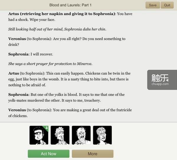 如戏剧剧本一样的游戏界面,UI下方列出所有活跃角色的头像