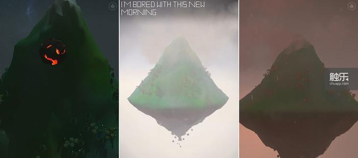 除了掉到山上的物件,偶尔游戏里也会出现一些文字说明山的心情