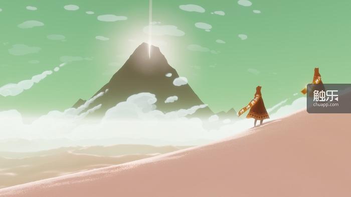 图中的两个角色在游戏中不能交谈,没有互动,在游戏结束之前甚至不知道对方的名字(PSN ID)。《Journey》通过冲击传统游戏玩家互动方式来传达对于人生旅程的思考