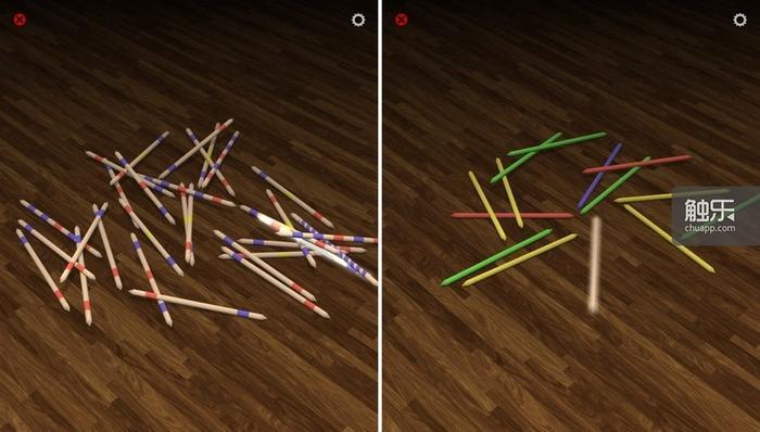 手指按住要挑起的竹签,它会发出淡淡光芒。一种花样看腻了的话,可以换一下竹签的风格……
