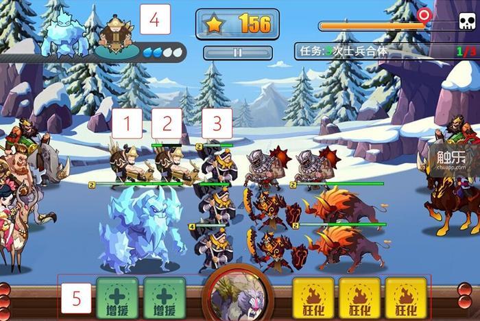 1和2两个相同的兵种可以合体升级,玩家也可以点掉任意一个单位(比如3),攒够灵魂派出新单位(4),以及使用消灭敌人带来的增援卡片(5)