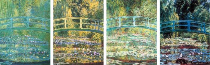 莫奈的《日本桥》四幅,虽然画的是同样的场景,但是光影色彩截然不同。