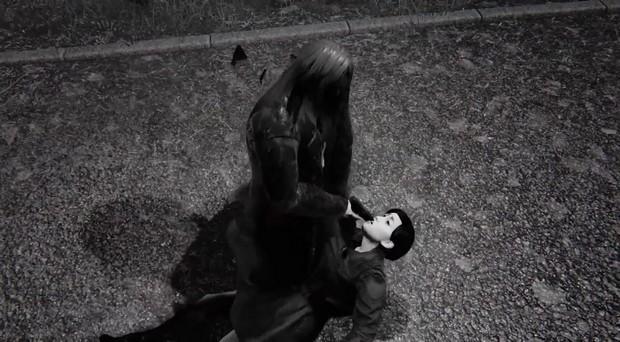 《Hatred》游戏画面,主角击杀一个无辜路人,路人求饶