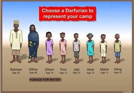 《Darfur is Dying》游戏截图,选择一个达尔富尔人去取水,取水过程中很可能被当地武装劫走