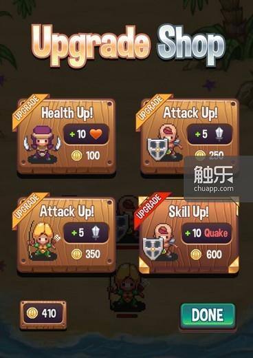 获得的金币可以用来升级英雄,为游戏增加了RPG成分