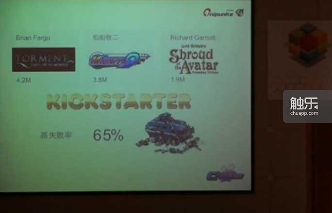 金色的Kickstarter,这张图片来源于2013年台北游戏开发者论坛视频