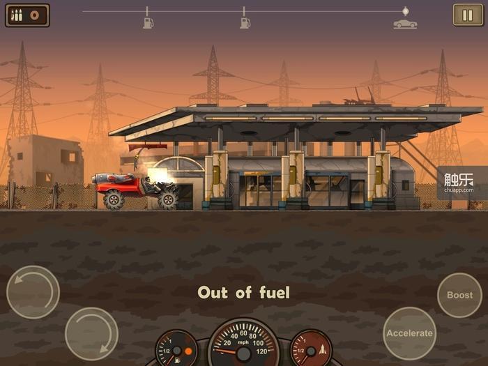 只有将车辆升级到头并使用最高级油料,才能勉强到达每个地图的最后一个检查点——这算不算是个怪事儿呢,你懂的