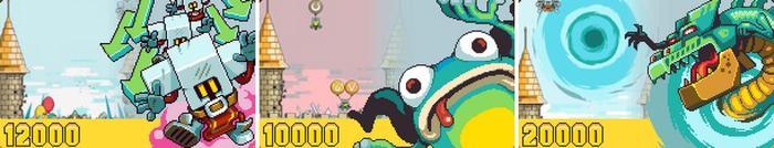 重力加速道具,全屏敌人高速下坠直接摔死;变形术道具,全屏敌人变成青蛙往上飘走;终极的龙道具,似乎没啥用?