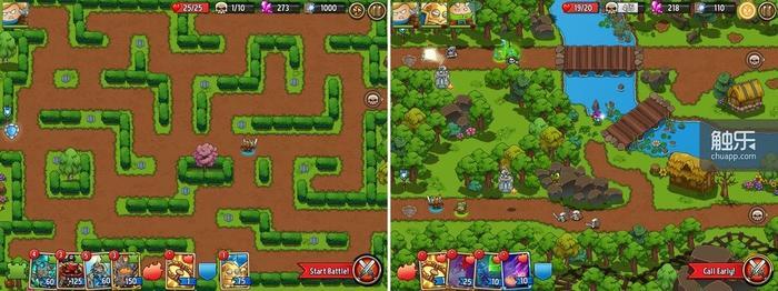 不同模式有不同尺寸的地图;和《王国保卫战》一样,有些关卡不允许玩家带入某些种类的塔