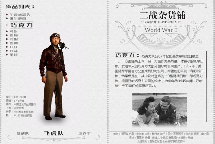 网易《二战杂货铺》专题,左侧是三位真人扮演的二战士兵,右侧是被选中物品的图文介绍