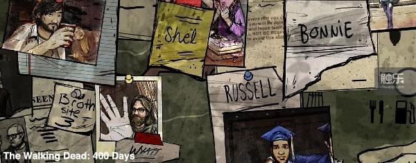 《行尸走肉:400天》中,游戏以5组不同角色在灾难发生后的第2,、41、184、220、236、400天中各自的遭遇,为玩家讲述了同一故事立体的多侧面观察