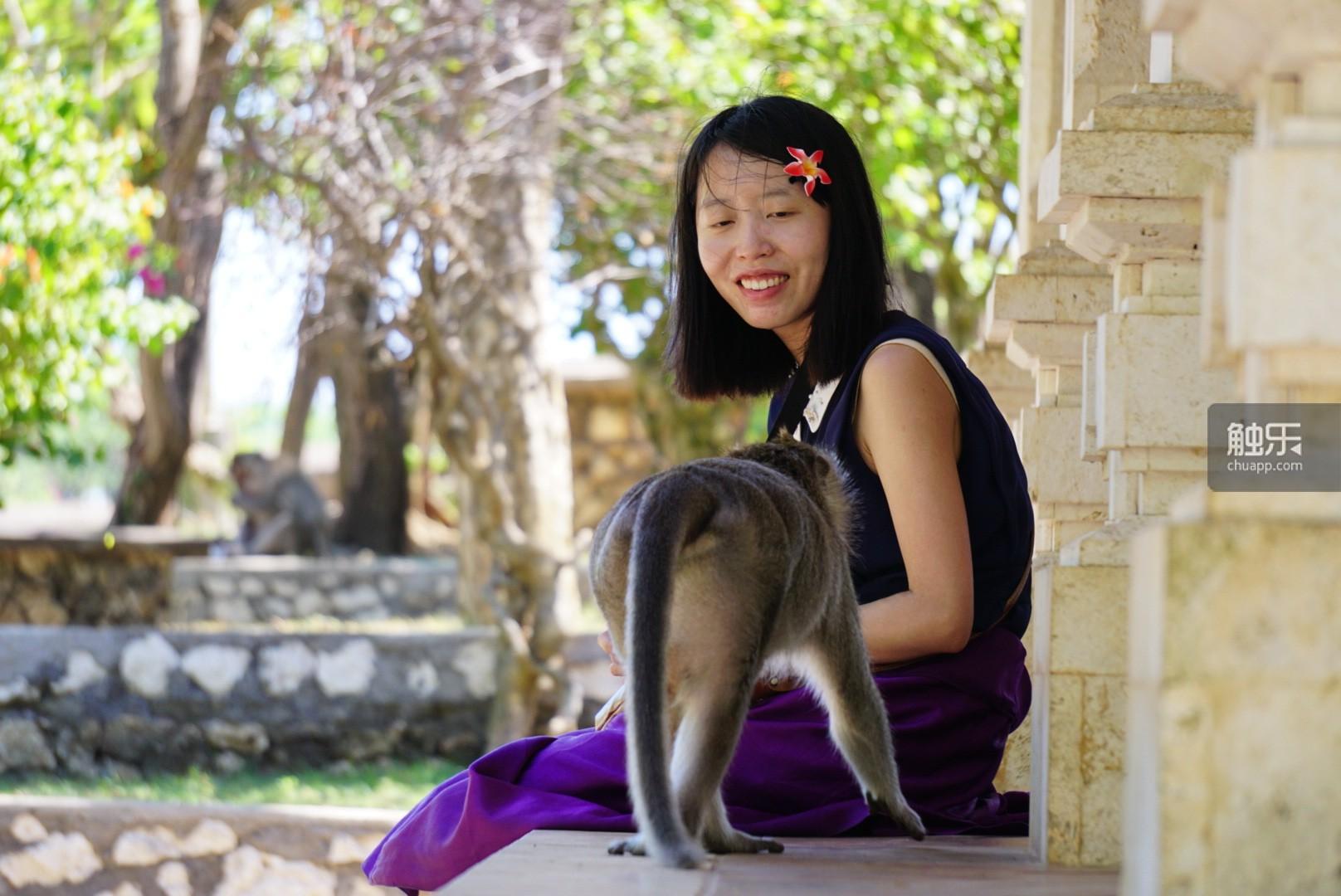淡定地和小猴子打招呼