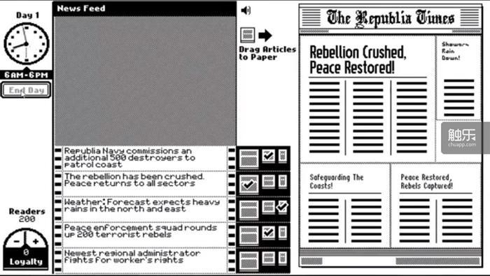 The Republia Times与Papers, Please采用了类似的设定:为了家人的性命与时间赛跑
