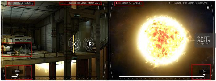 游戏的计时、需要玩家逃生的距离、逃生角色的信息等都用了融入画面的方式显示(红框框选)