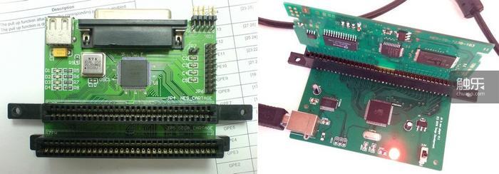 将fc卡槽与md卡槽集成在同一块电路板上,同时用于提取fc游戏和md游戏