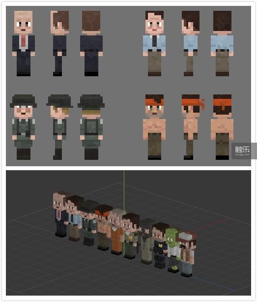 类似《Minecraft》的3D方块人,后面一加动作就灵活多了