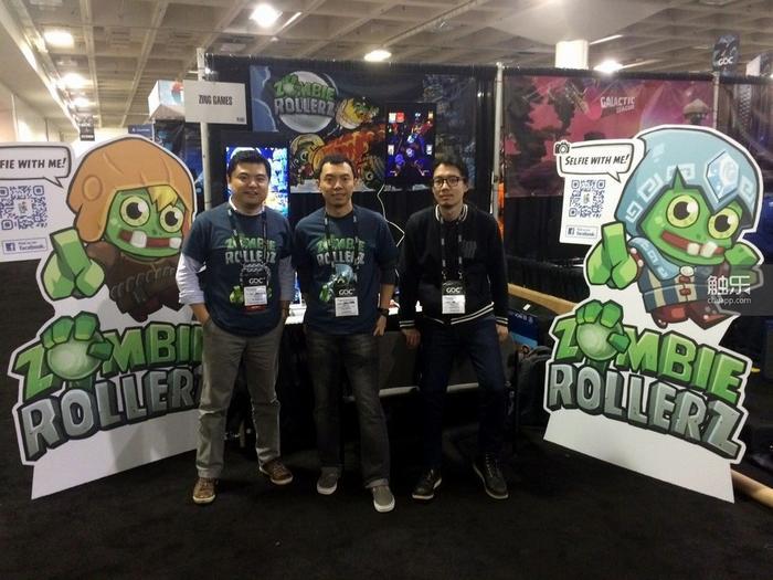 (左起)叶展、叶丁和ZING GAMES程序潘一洲