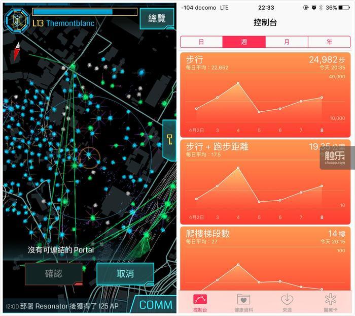 """左图:任务提供一种""""精选""""后的路线,比如上野公园这么多Po,让你挨个走一遍可能你会觉得没头绪;但如果有任务提示,那你按提示一步一步走过去就好了;右图:在东京的7天里平均每天我走22000步,当然不全是在玩Ingress,但肯定与它有很大关系"""