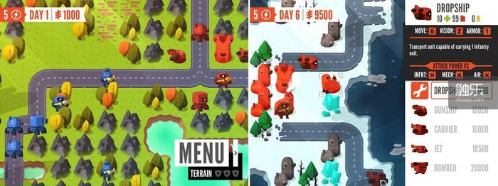 步兵的优势在于全地形移动和利用树林隐藏自己;在第二章可以建造机场之后,这部游戏的战略深度才完全展开