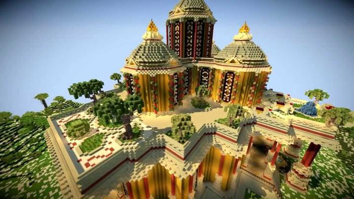 玩家在《Mincraft》中建造的宫殿