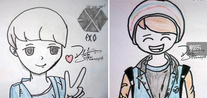 杨蒙在化疗期间画的EXO成员的漫画像,那时的她对未来仍充满希望