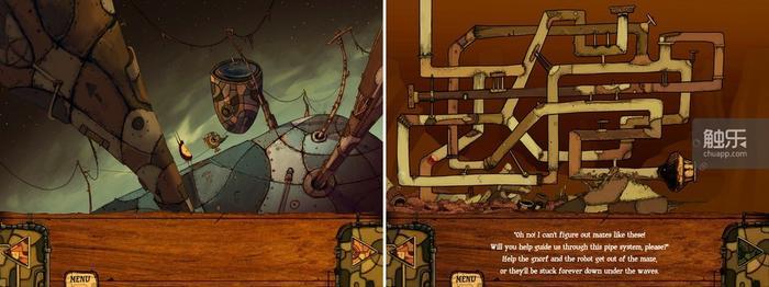 晃动屏幕,让重物自由落体;所有的谜题,也大概只有这个管道迷宫有些挑战性了