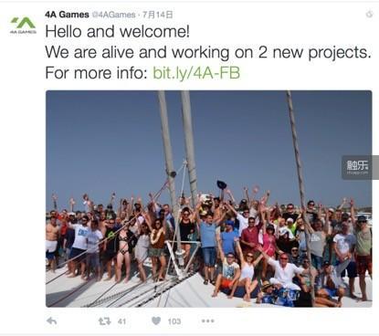 出走后的4A Games整整2年杳无音信,直到今年7月才在推特有了新消息