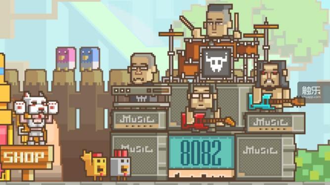 出现在《节奏英雄》主界面中的8082乐队。这个游戏的开发人员表滚动的事件特别久,因为他们把所有参与者都添加了进去