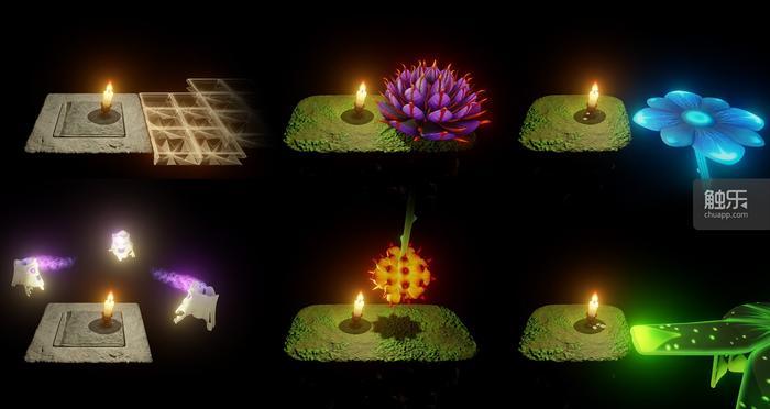 蜡烛人点亮自己后会发生的一些效果,包括产生可以跳跃的阶梯、开花,驱散幽灵、让果实掉落、
