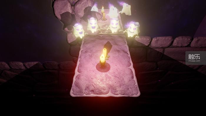 点亮蜡烛还可以驱散不断逼近的怪物们,但点亮之后,两边原本因存在的台阶就因为光照而消失了